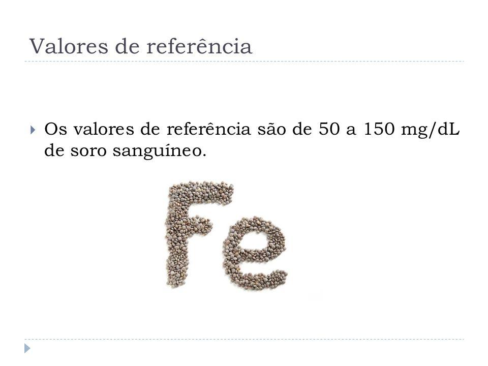 Valores de referência Os valores de referência são de 50 a 150 mg/dL de soro sanguíneo.