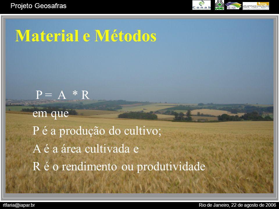Material e Métodos P = A * R em que P é a produção do cultivo;