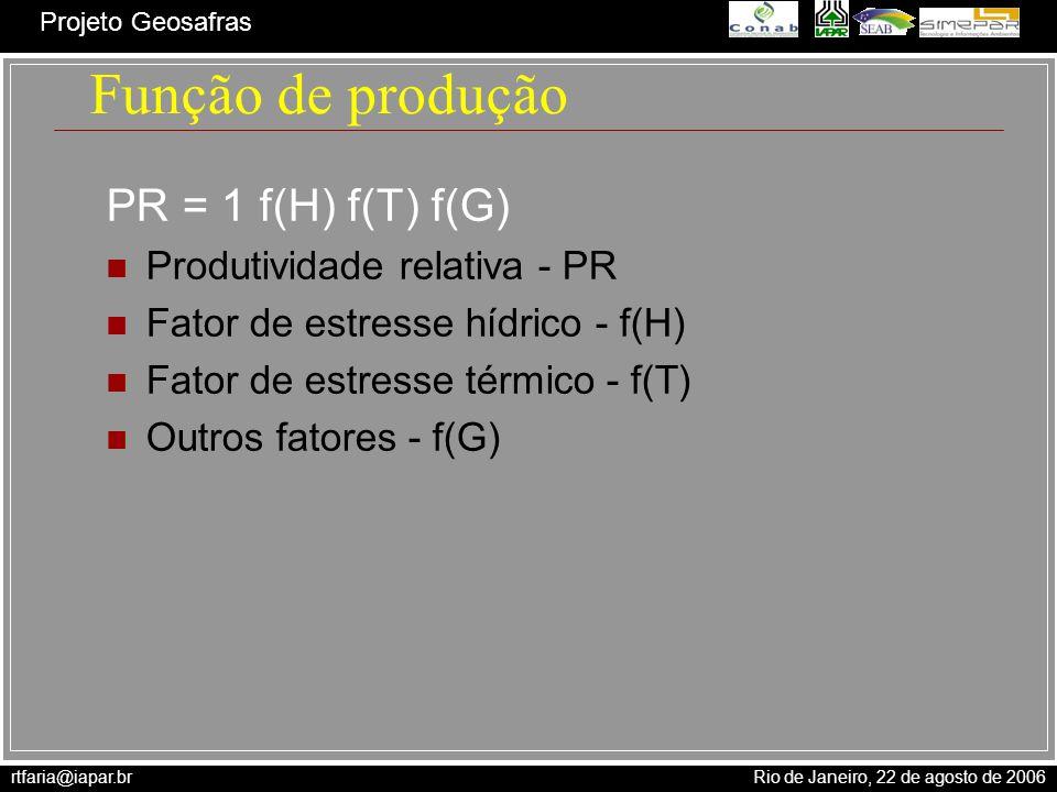 Função de produção PR = 1 f(H) f(T) f(G) Produtividade relativa - PR