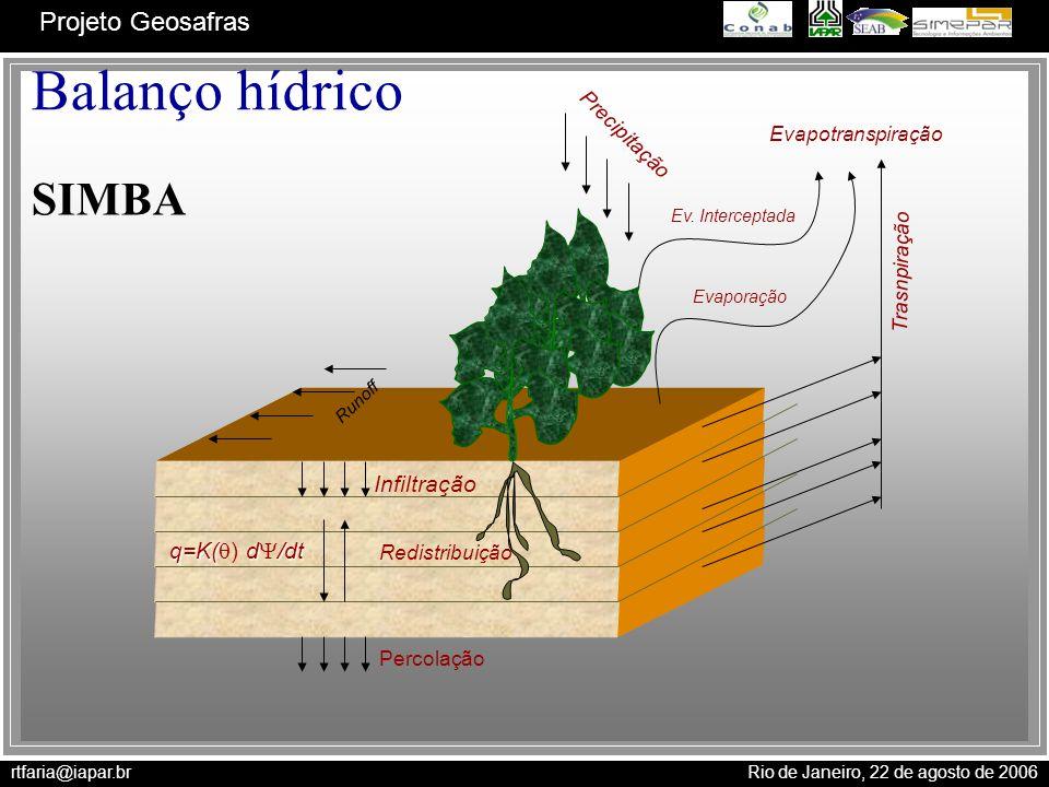 Balanço hídrico SIMBA Infiltração q=K() d/dt Precipitação