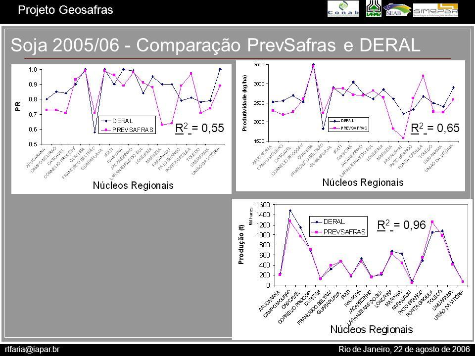 Soja 2005/06 - Comparação PrevSafras e DERAL