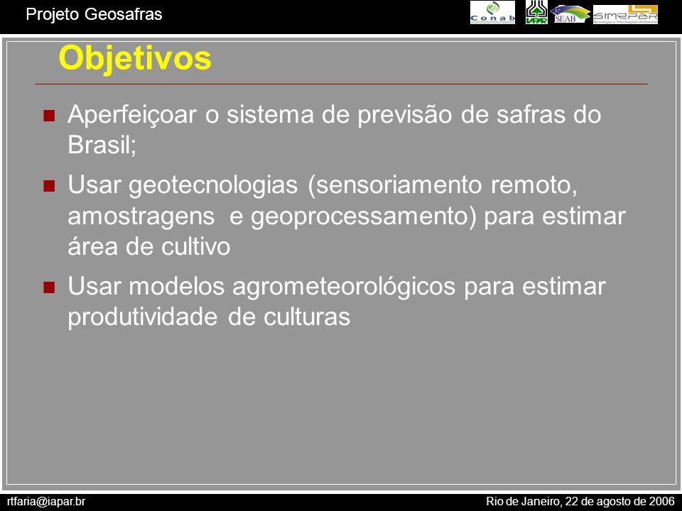 Objetivos Aperfeiçoar o sistema de previsão de safras do Brasil;