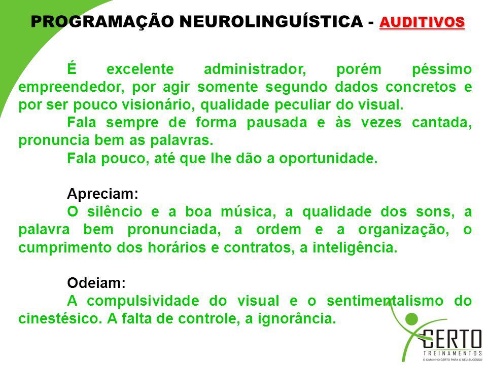 PROGRAMAÇÃO NEUROLINGUÍSTICA - AUDITIVOS
