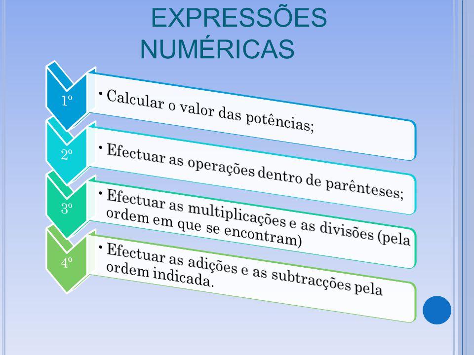 EXPRESSÕES NUMÉRICAS 1º Calcular o valor das potências; 2º