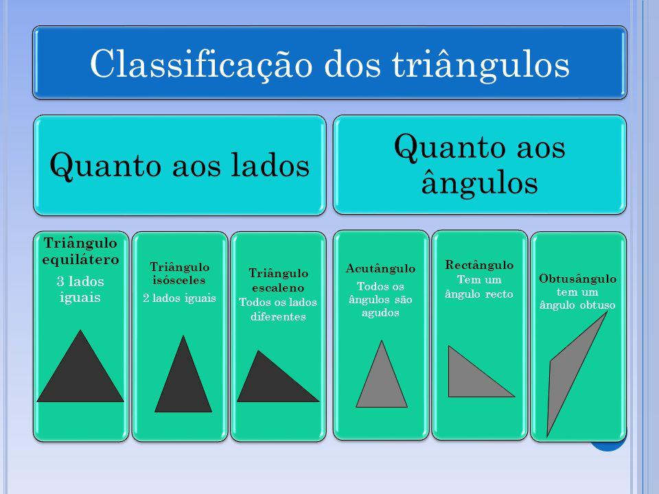 Triângulo equilátero 3 lados iguais Classificação dos triângulos