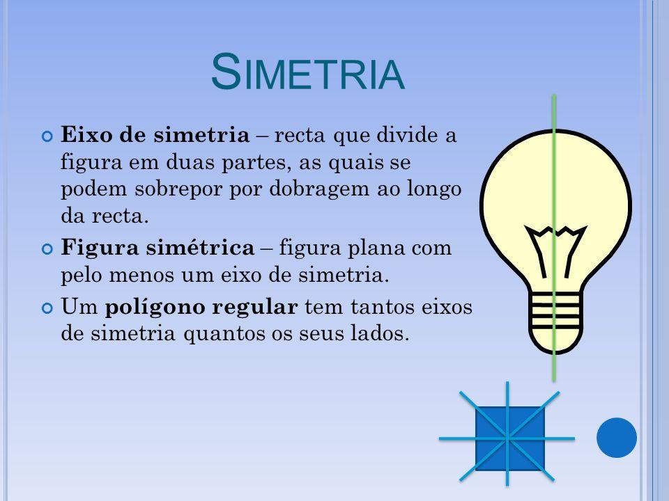 Simetria Eixo de simetria – recta que divide a figura em duas partes, as quais se podem sobrepor por dobragem ao longo da recta.