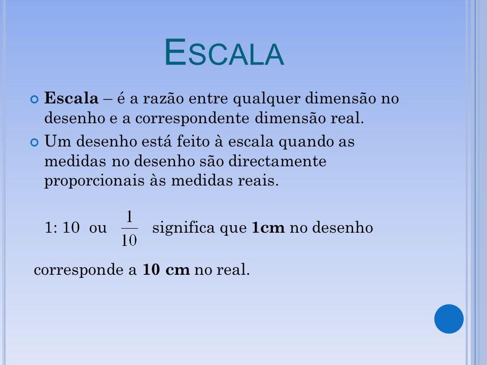 Escala Escala – é a razão entre qualquer dimensão no desenho e a correspondente dimensão real.