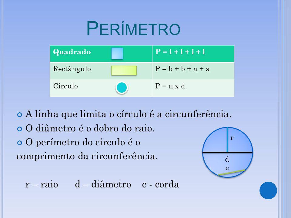 Perímetro A linha que limita o círculo é a circunferência.