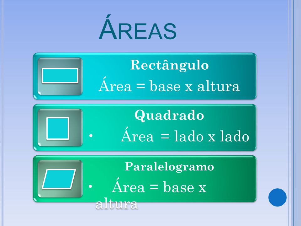 Áreas Área = base x altura Área = lado x lado Rectângulo Quadrado