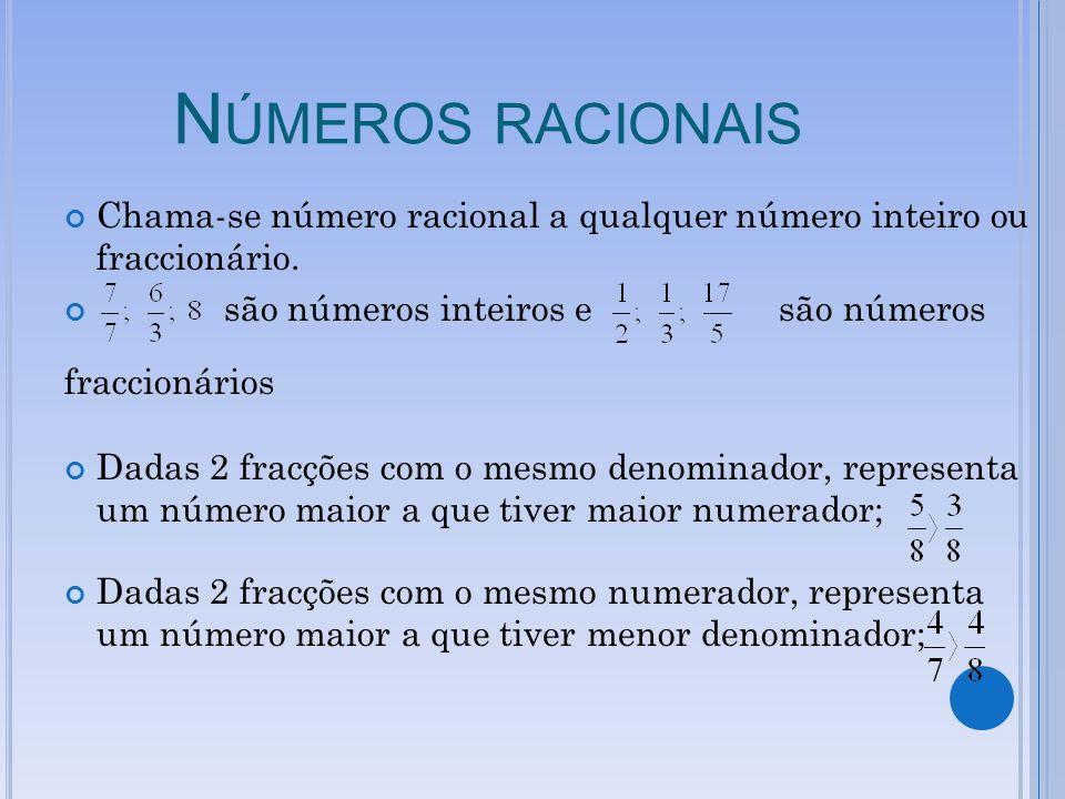 Números racionais Chama-se número racional a qualquer número inteiro ou fraccionário. são números inteiros e são números.
