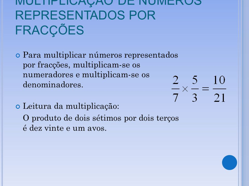 MULTIPLICAÇÃO DE NÚMEROS REPRESENTADOS POR FRACÇÕES