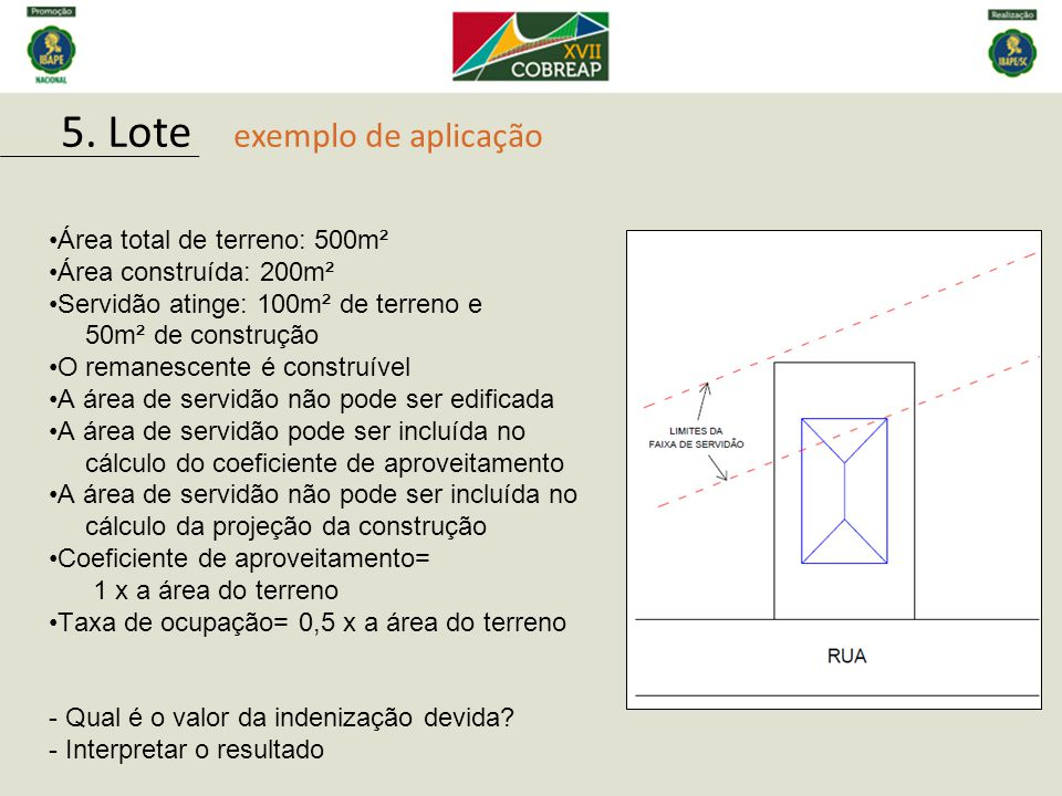 5. Lote exemplo de aplicação