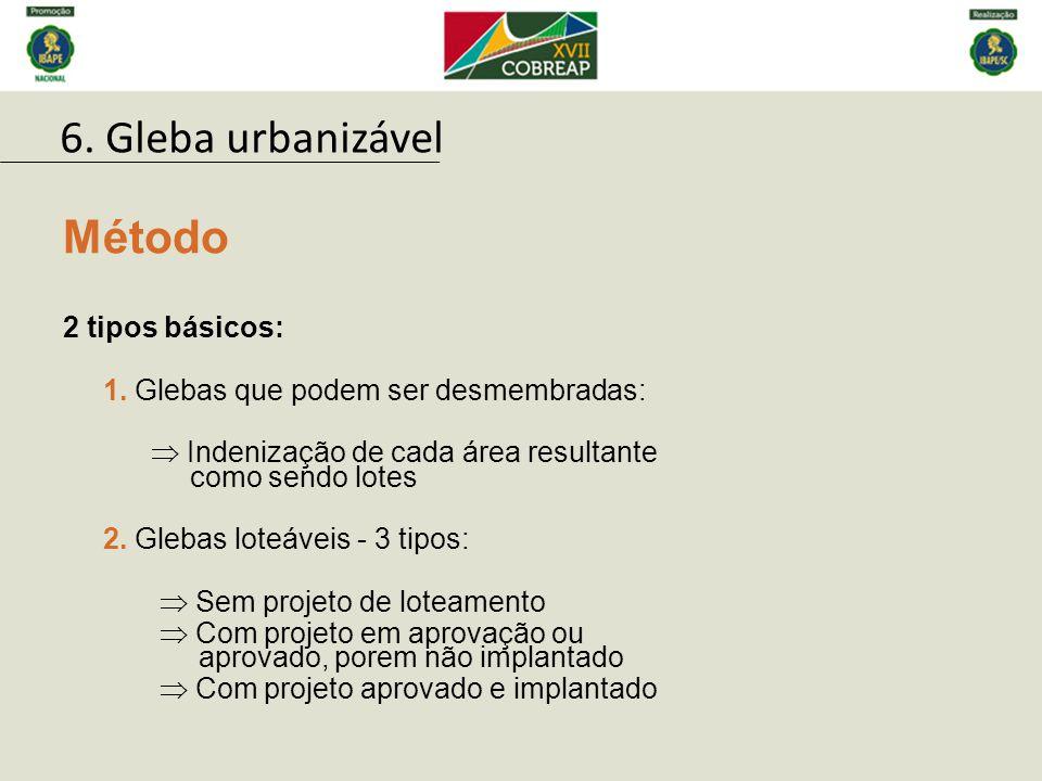 6. Gleba urbanizável Método 2 tipos básicos:
