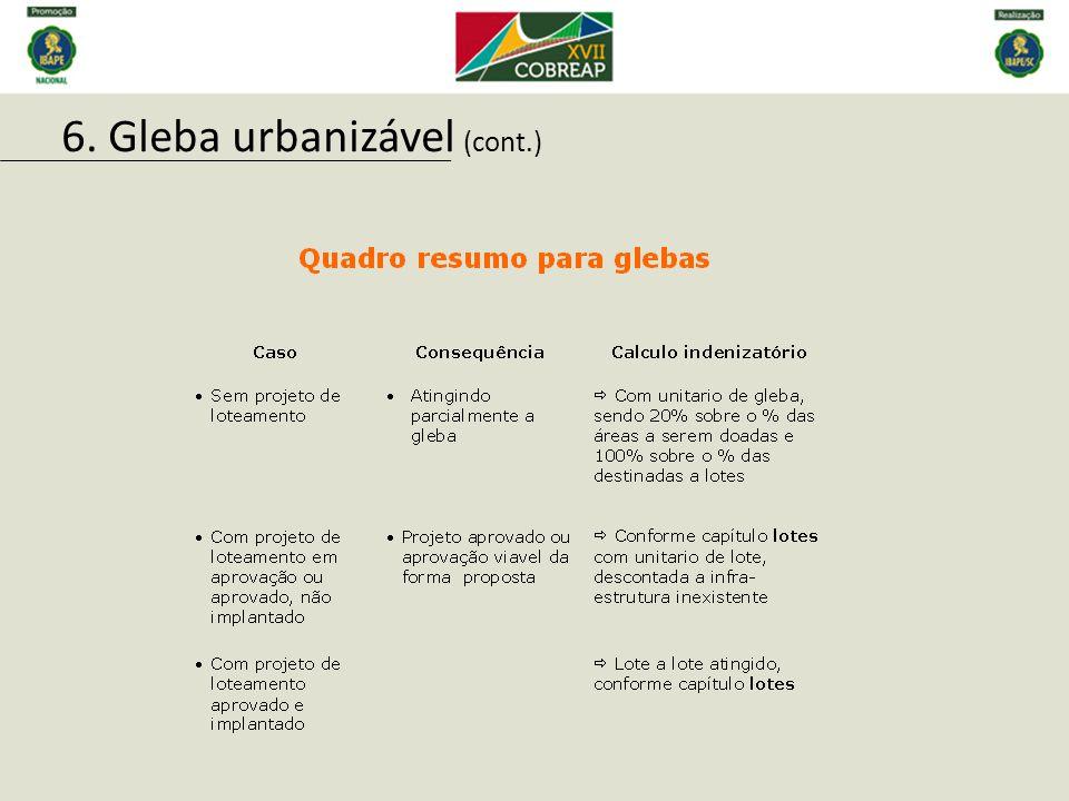 6. Gleba urbanizável (cont.)