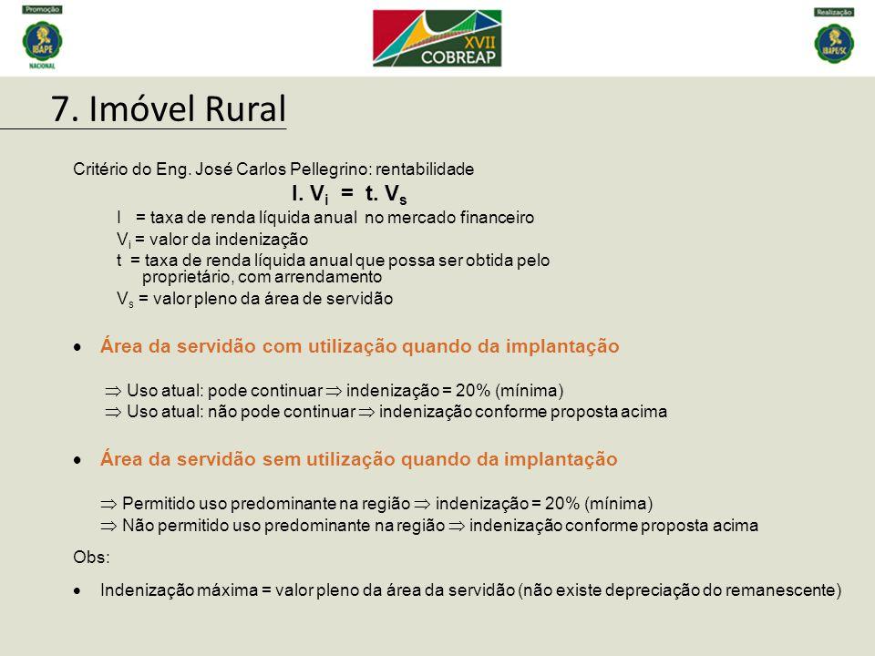 7. Imóvel Rural Área da servidão com utilização quando da implantação