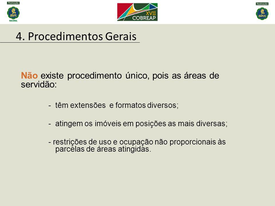 4. Procedimentos Gerais Não existe procedimento único, pois as áreas de servidão: têm extensões e formatos diversos;