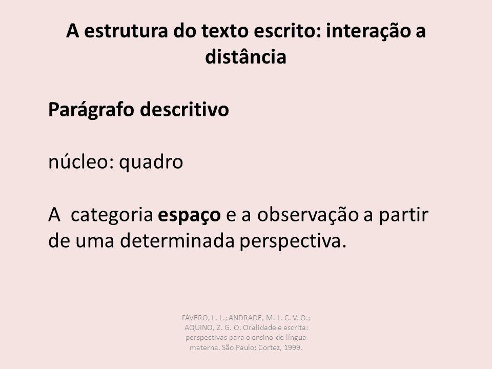 A estrutura do texto escrito: interação a distância