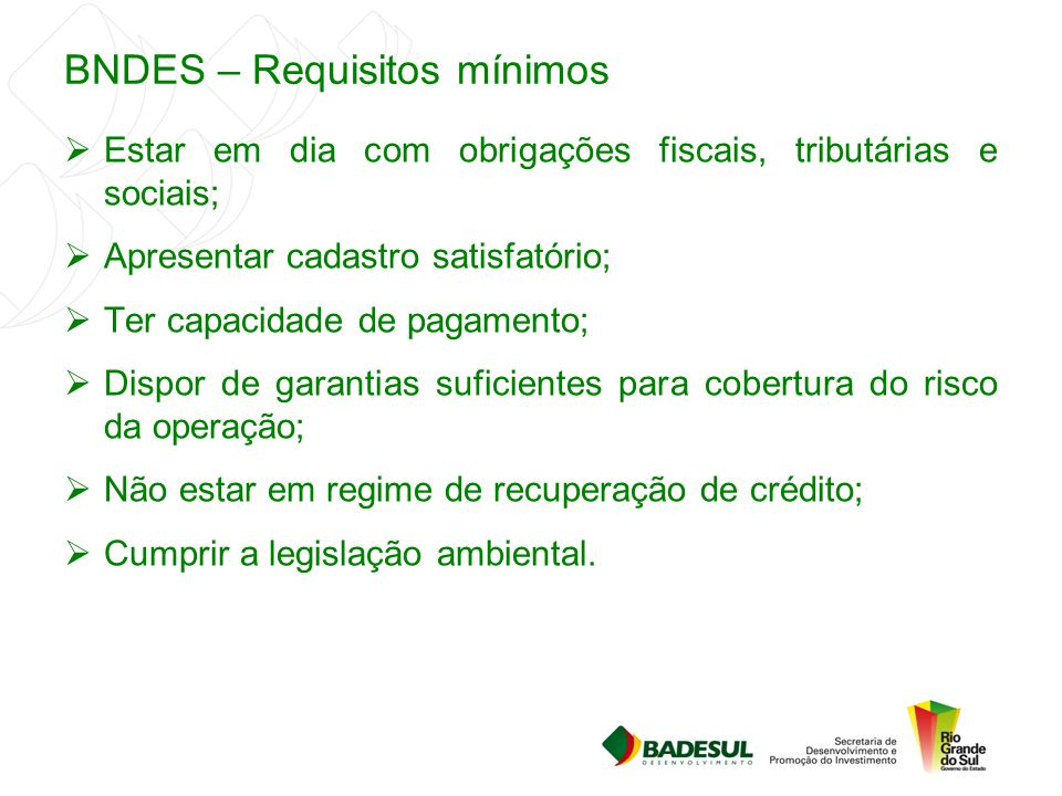 BNDES – Requisitos mínimos
