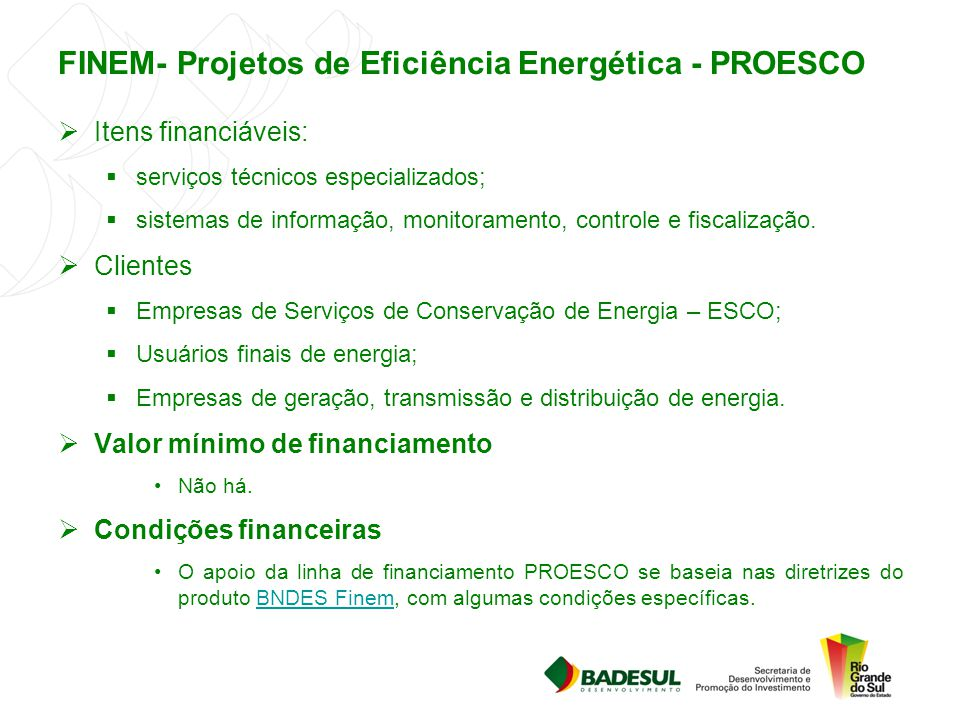 FINEM- Projetos de Eficiência Energética - PROESCO