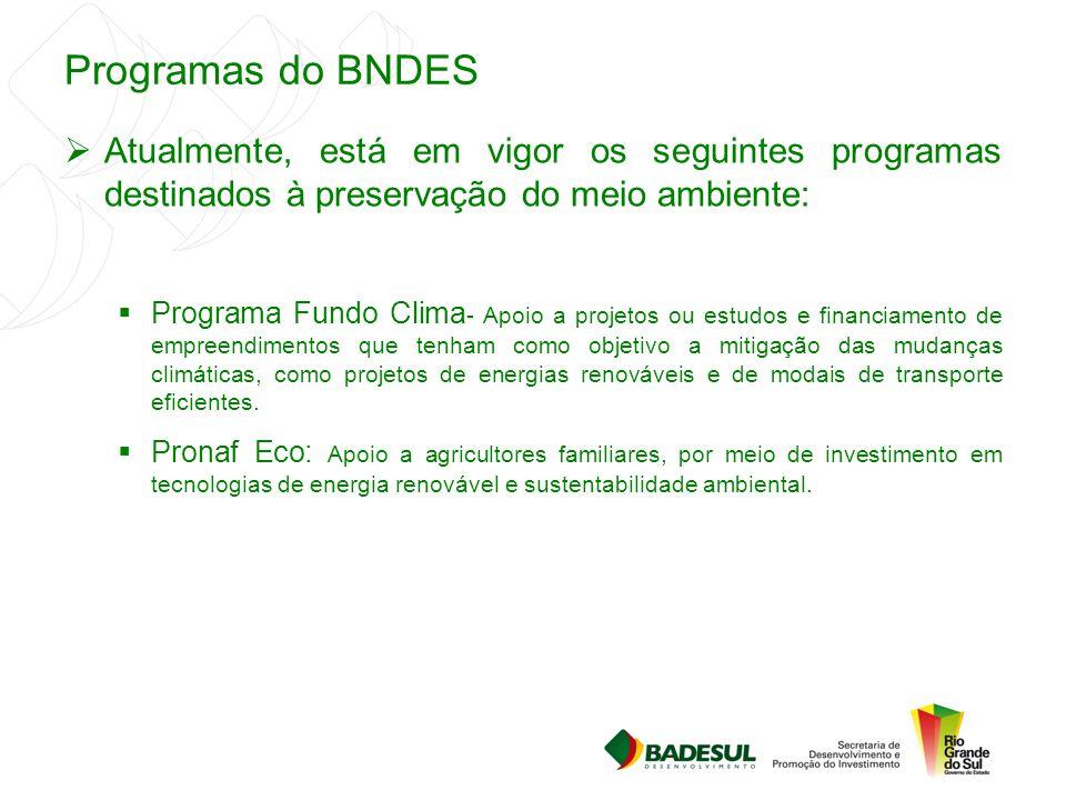Programas do BNDES Atualmente, está em vigor os seguintes programas destinados à preservação do meio ambiente: