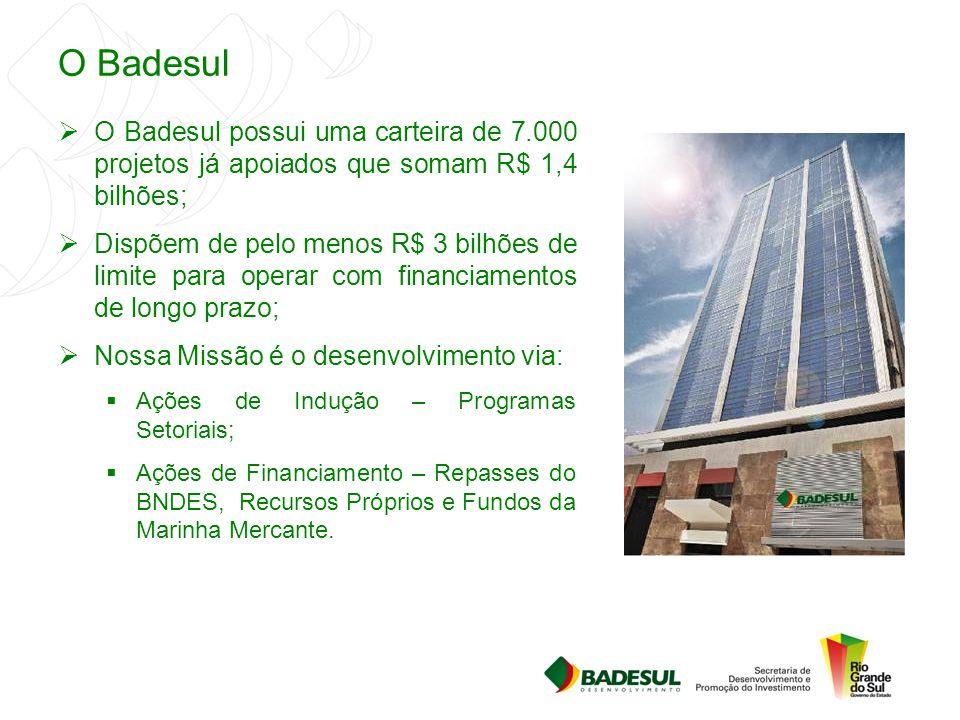 O Badesul O Badesul possui uma carteira de 7.000 projetos já apoiados que somam R$ 1,4 bilhões;