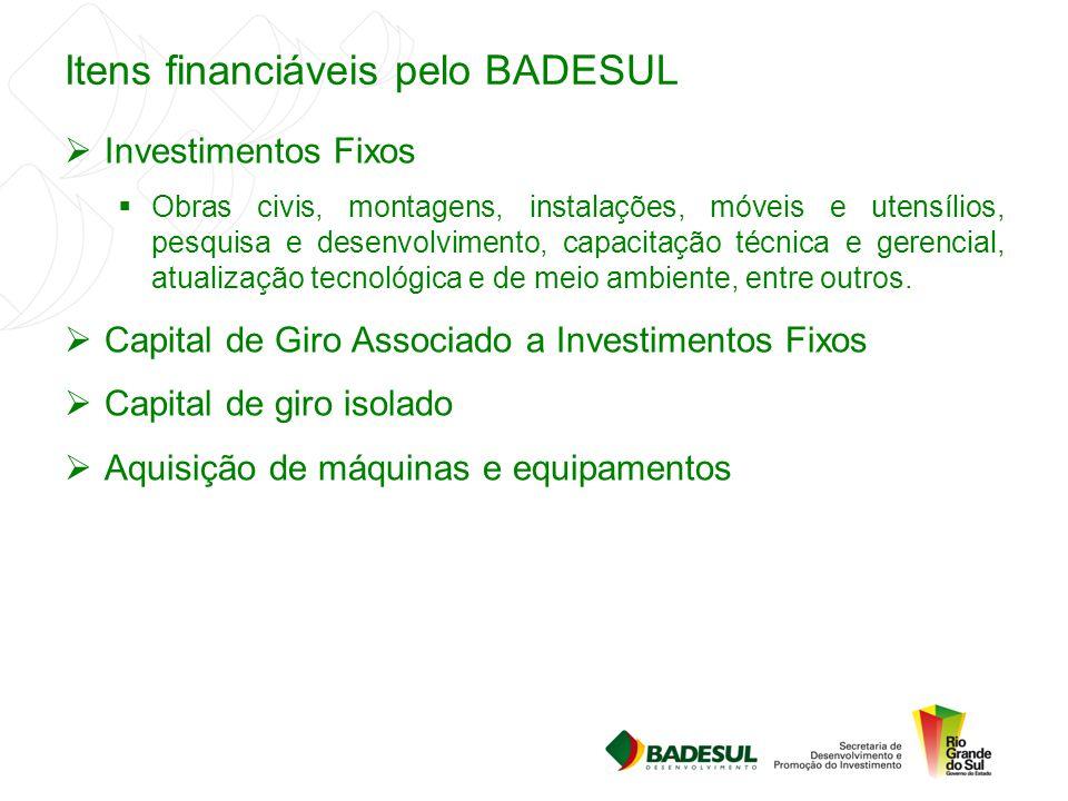 Itens financiáveis pelo BADESUL