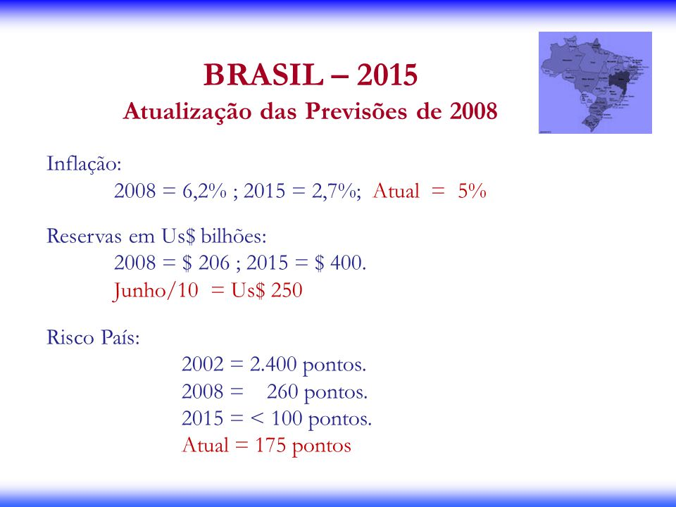 Atualização das Previsões de 2008