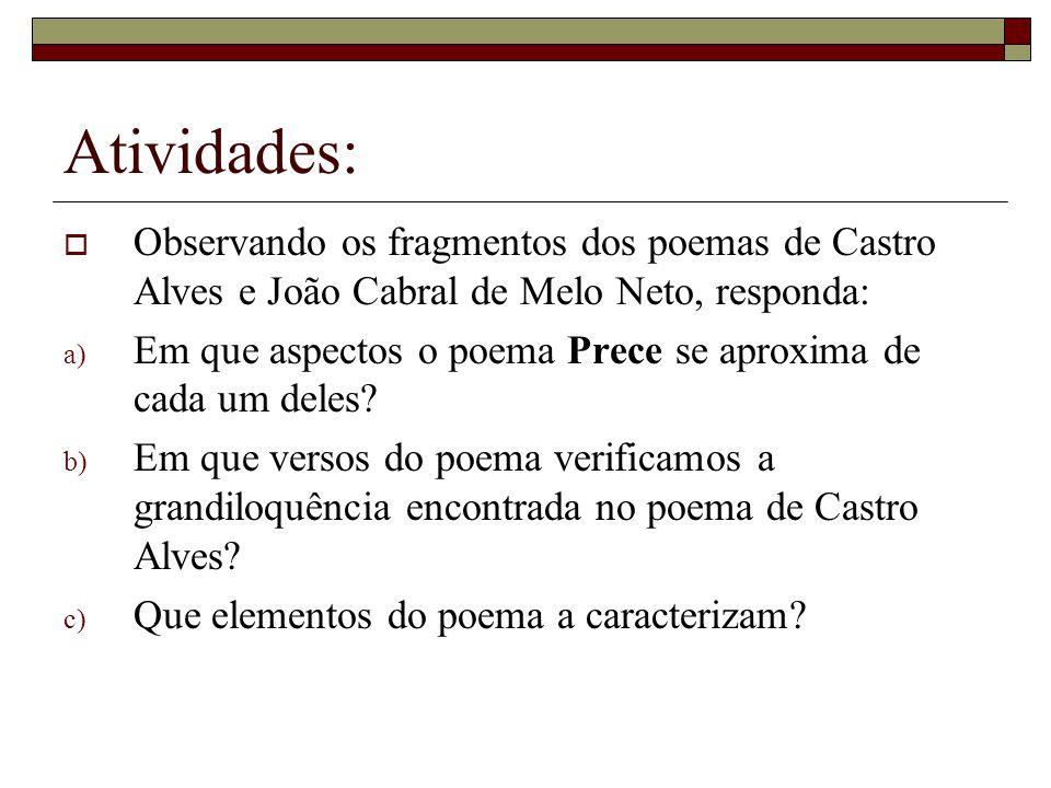Atividades: Observando os fragmentos dos poemas de Castro Alves e João Cabral de Melo Neto, responda: