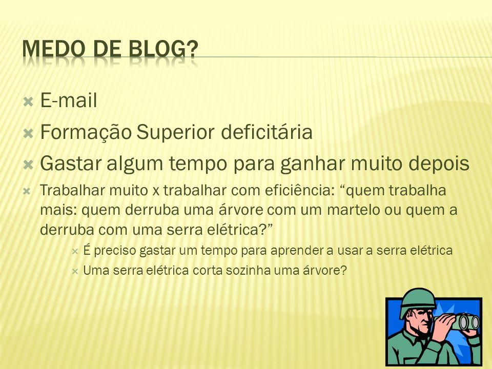 Medo de blog E-mail Formação Superior deficitária