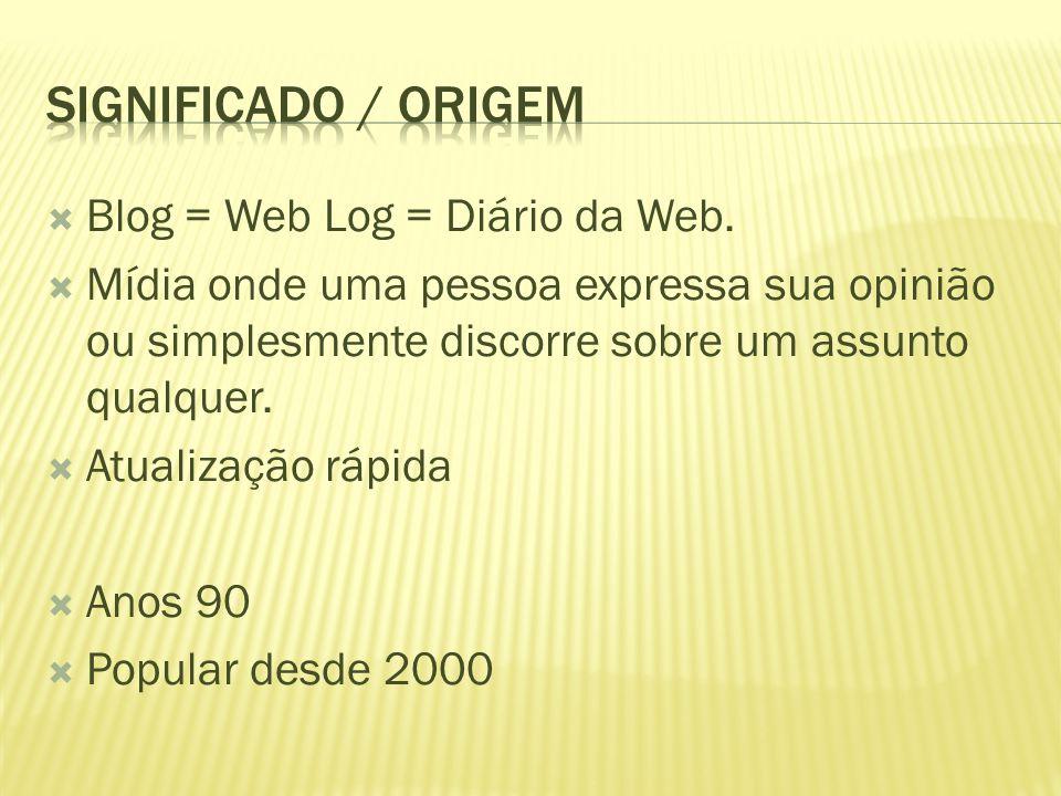 Significado / Origem Blog = Web Log = Diário da Web.