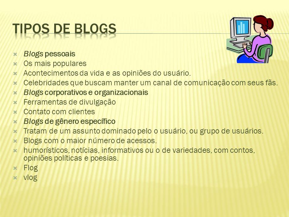 Tipos de Blogs Blogs pessoais Os mais populares