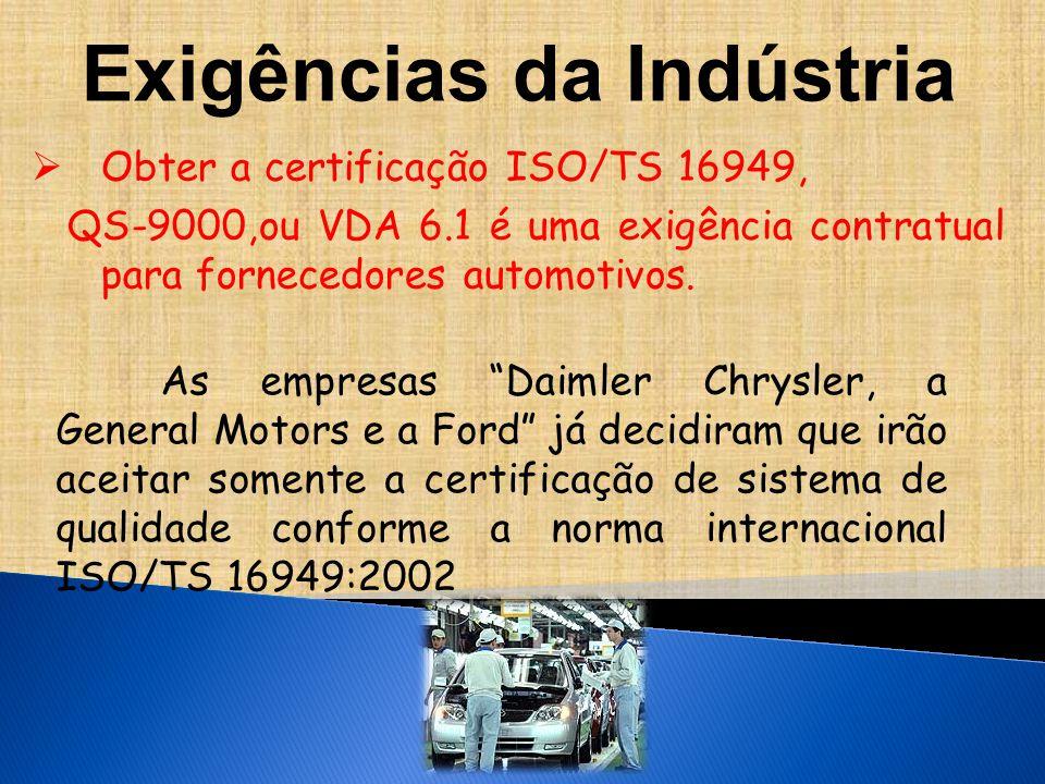 Exigências da Indústria