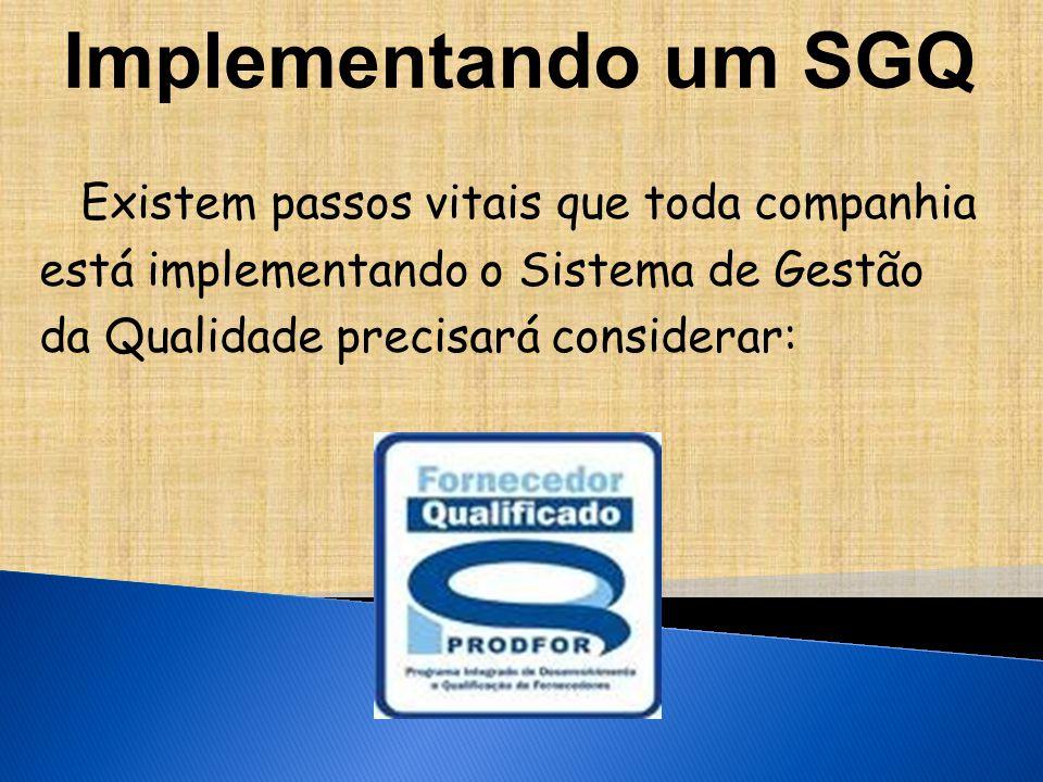 Implementando um SGQ Existem passos vitais que toda companhia