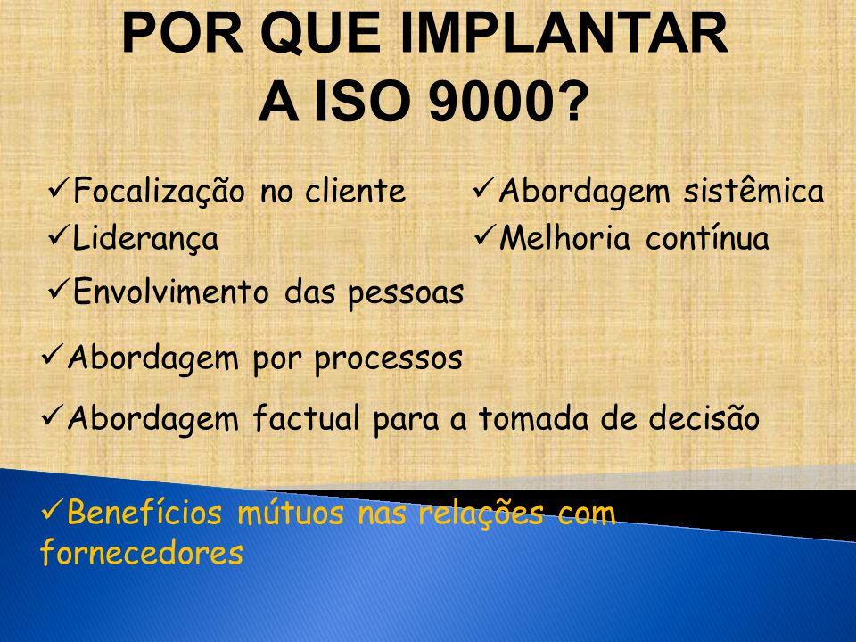 POR QUE IMPLANTAR A ISO 9000 Focalização no cliente