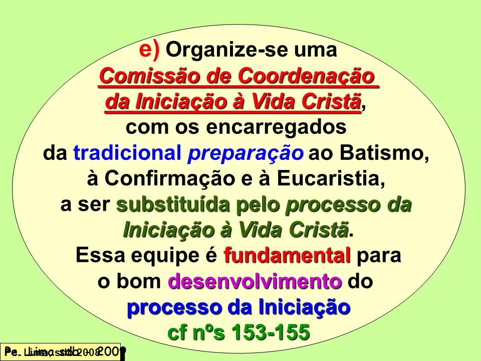 e) Organize-se uma Comissão de Coordenação da Iniciação à Vida Cristã,
