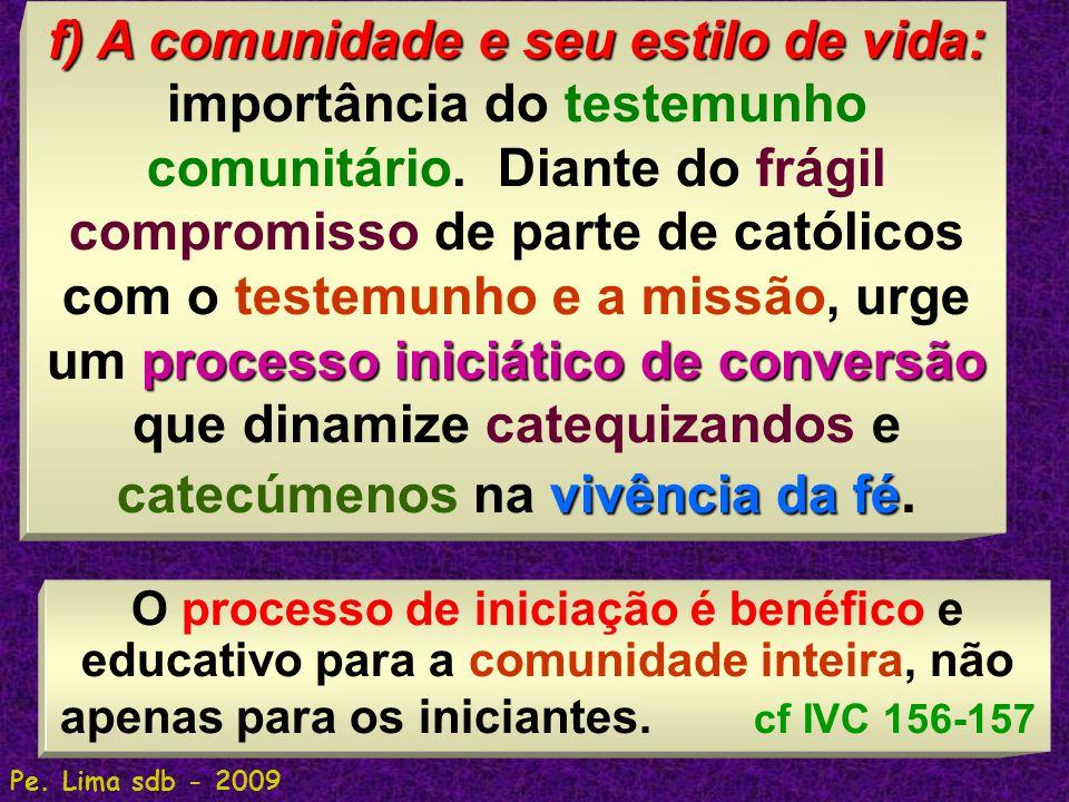 f) A comunidade e seu estilo de vida: importância do testemunho comunitário. Diante do frágil compromisso de parte de católicos com o testemunho e a missão, urge um processo iniciático de conversão que dinamize catequizandos e catecúmenos na vivência da fé.
