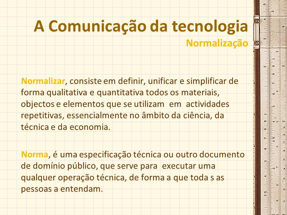 A Comunicação da tecnologia Normalização