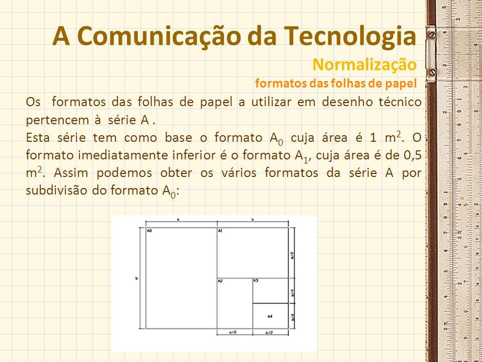 A Comunicação da Tecnologia Normalização formatos das folhas de papel