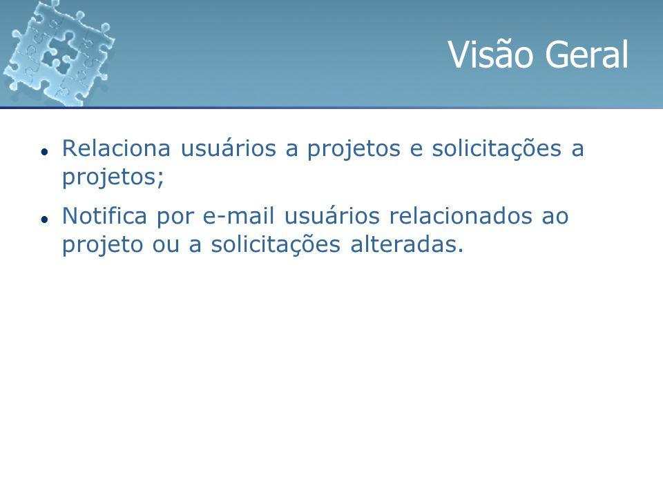 Visão Geral Relaciona usuários a projetos e solicitações a projetos;