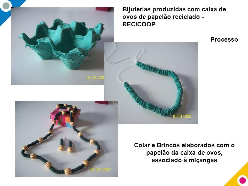 Bijuterias produzidas com caixa de ovos de papelão reciclado - RECICOOP