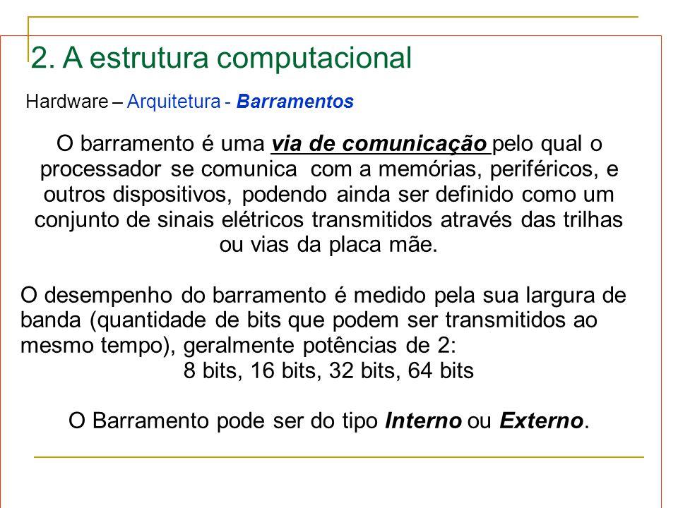 O Barramento pode ser do tipo Interno ou Externo.