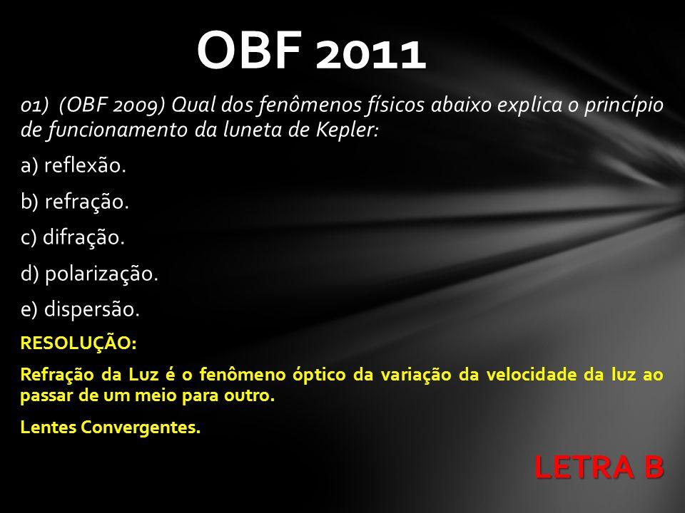 OBF 2011 01) (OBF 2009) Qual dos fenômenos físicos abaixo explica o princípio de funcionamento da luneta de Kepler: