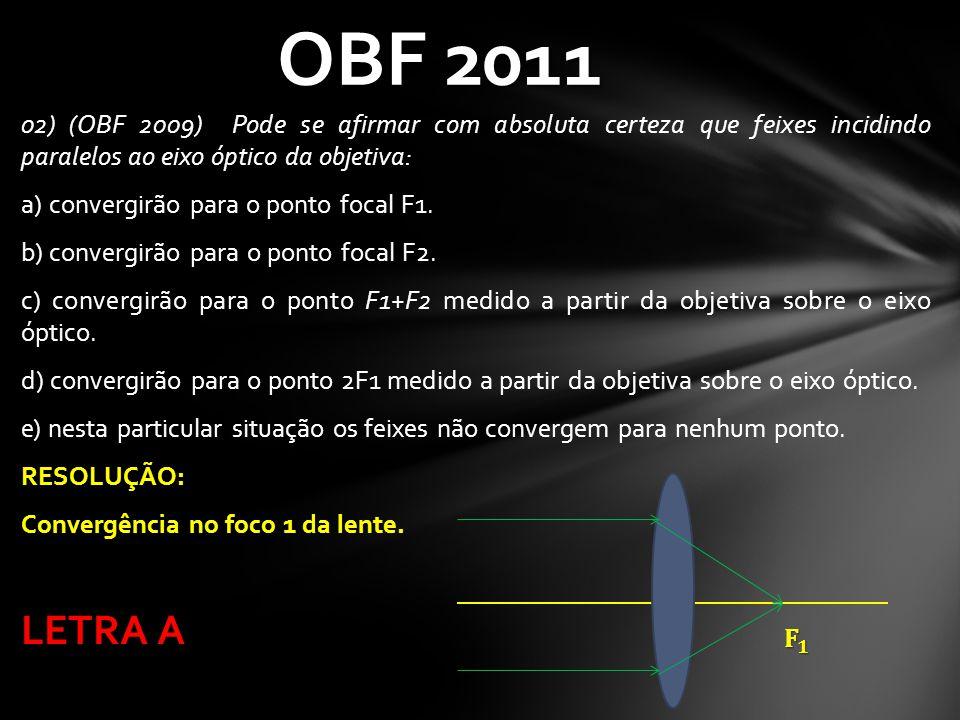 OBF 2011 02) (OBF 2009) Pode se afirmar com absoluta certeza que feixes incidindo paralelos ao eixo óptico da objetiva: