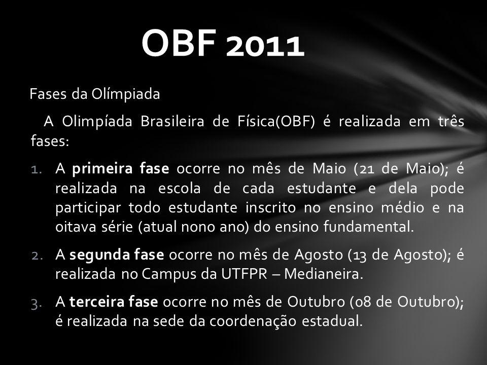 OBF 2011 Fases da Olímpiada. A Olimpíada Brasileira de Física(OBF) é realizada em três fases: