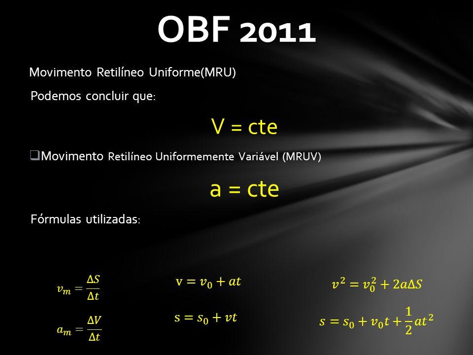 OBF 2011 a = cte V = cte Movimento Retilíneo Uniforme(MRU)
