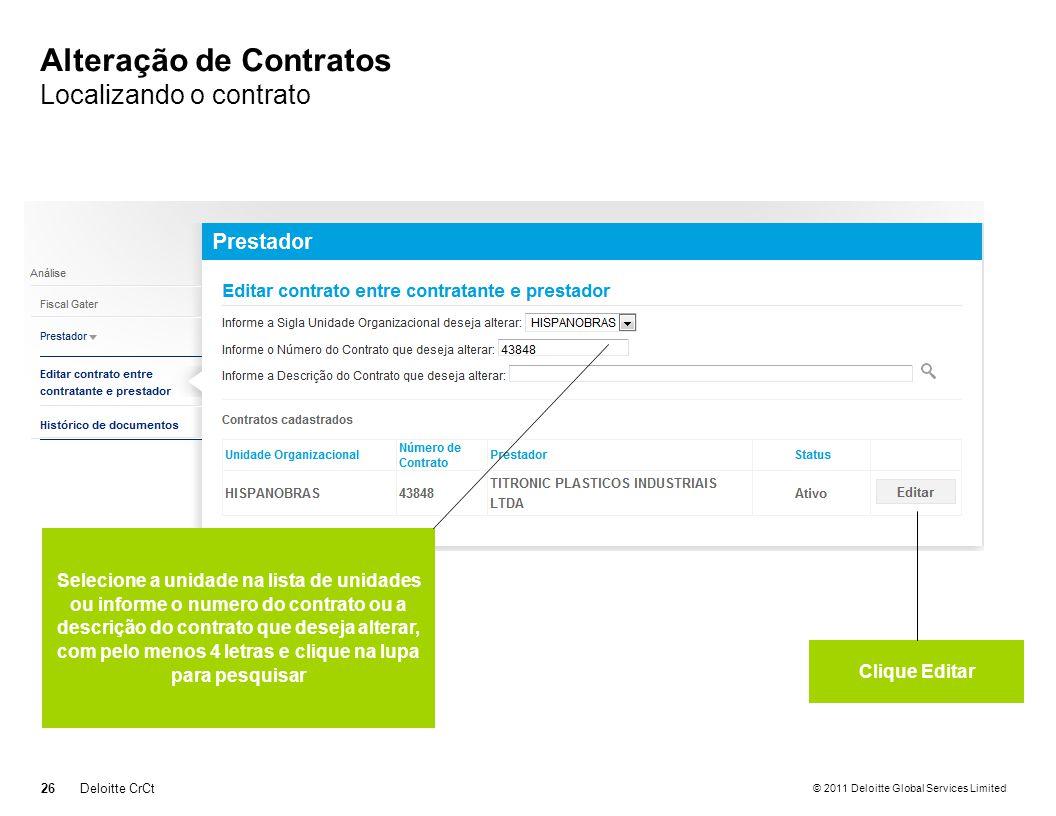 Alteração de Contratos Localizando o contrato