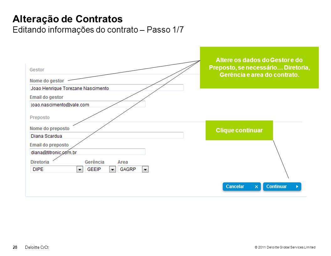 Alteração de Contratos Editando informações do contrato – Passo 1/7