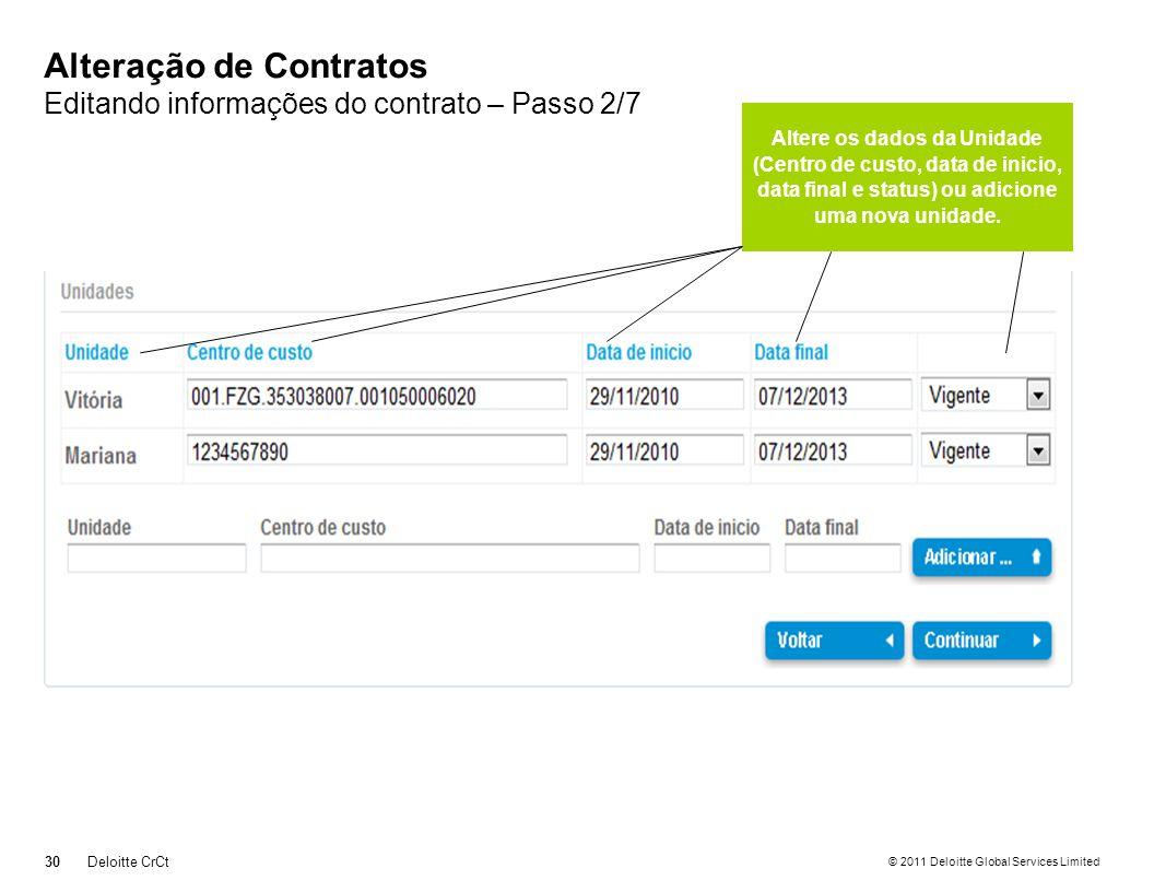 Alteração de Contratos Editando informações do contrato – Passo 2/7