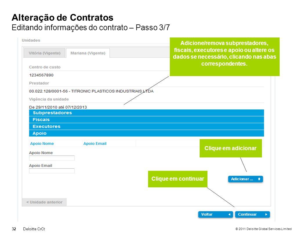 Alteração de Contratos Editando informações do contrato – Passo 3/7