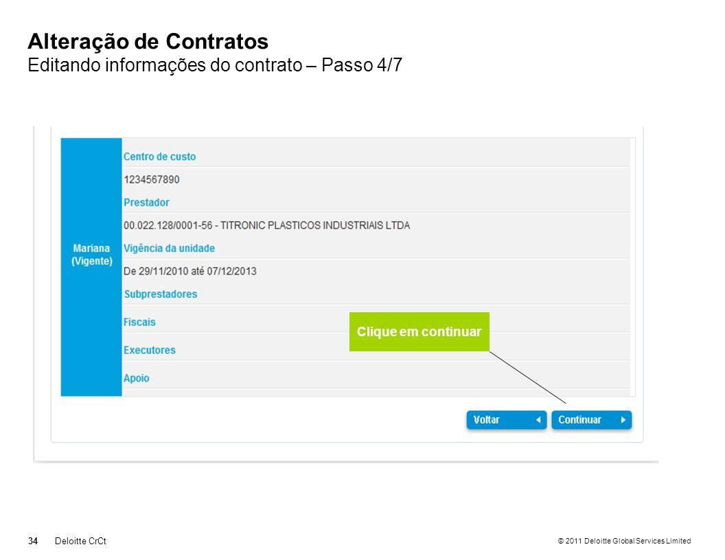 Alteração de Contratos Editando informações do contrato – Passo 4/7
